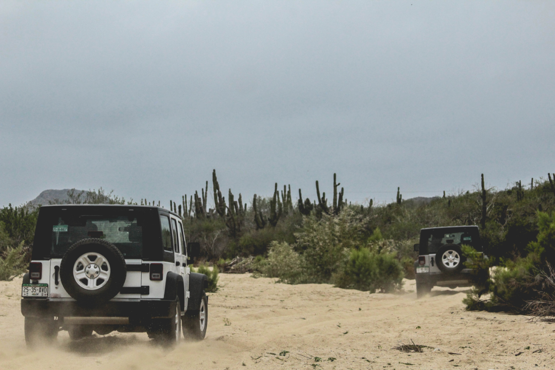 High Tide Los Cabos adventure tour - two 4x4 jeeps driving through the desert on a guided tour