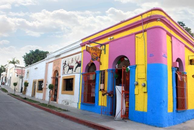 Colorful buildings in the center of San José del Cabo in Los Cabos Mexico